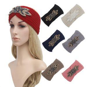 8 Color Punto Diadema Hilado de Woola Hilado de Women Banda de pelo Invierno al aire libre Deportes Accesorios para el cabello Yoga Head Band Favor de la fiesta T9I00827