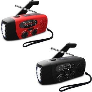 LED와 FM AM WB 날씨 라디오를 충전 다기능 휴대용 무선 핸드 크랭크 태양 크랭크 발전기 USB 전원
