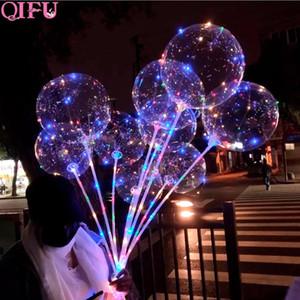 Qifu 1 Set 20inch Bobo Balloon With Led Light Transparent Luminous Baloon Birthday Party Decor Kids Wedding Decor Babyshower wmtQMX