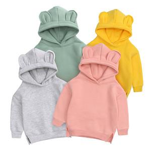7 ألوان طفل رضيع فتاة هوديي الشتاء الدافئة سميكة البلوز مع الأرنب الأذن قبعة طفل