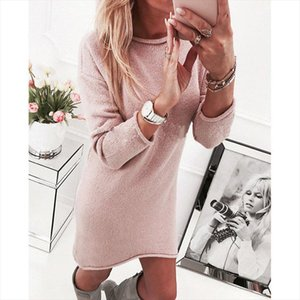 2019 Autumn Winter Warm Women Knitted Sweater Dress Bottoming Sexy Casual Long Sleeved O Neck Loose Turtleneck Dresses Clothes