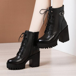 women boots winter snow booties black increase 8cm 10cm Thick heel womens boot leather shoes size 35-40 03