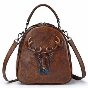 Europe and the United States 2020 new retro casual first layer cowhide backpack ladies backpack student school bag leather female travel bag