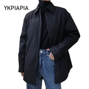 2020 Women Winter Parka Coat Long Sleeve Turn Down Shirt Collar Pullover Female Casual Warm Slim Cotton Jacket Outerwear