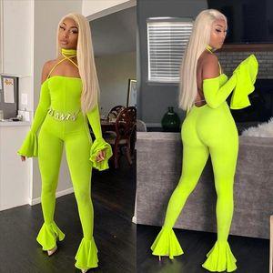 Women Jumpsuit Pants 2019 Clubwear Autumn Neon Green Off Shoulder Halter Womens Sexy Playsuits Ruffles Backless Jump Suits