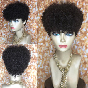 Stock new Human Real Hair Short Pixie cut Wigs brazilian Full Hair Glueless Lace Wig African American Short Bob Wigs