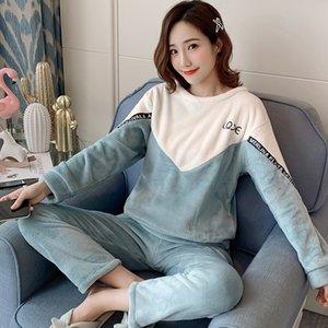 Vendita all'ingrosso wavmit caldo flanella pigiama addensare ragazza stampa pigiama manica lunga sleepwear vestito donne notte set y200425