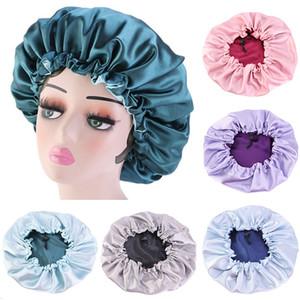 7 Color Adjustable Elastic Band Silk Night Cap Double Side Wear Women Head Cover Sleep Cap Satin Bonnet Hair Care Chemotherapy Cap LLA176