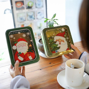 Christmas gift box Open window transparent rectangular square film tinplate box cookie baking packaging 033