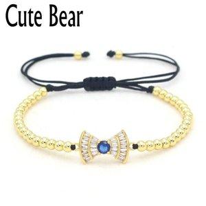 Niedliche Bär Marke Top Qualität 4 mm Kupferperlen Armbänder Für Frauen Kreative Inlay Zirkon Bowknot Armband Frauen Luxus Schmuck