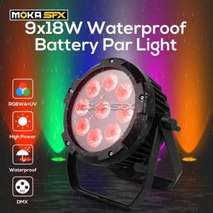 2pcs / lot pile imperméable batterie par light 9x18w wifi application télécommande RGBWA + UV 6in1 phares de scène pour la performance de la sauge de mariage