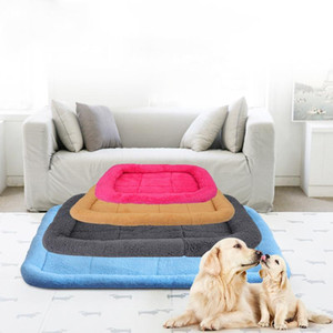 S-XL Pet Dog Bed Mat Warm Fleece Blanket House Nest Fall Winter Sofa Pet Cushion Cover Towel Kennel Mattress For Cat Lounger