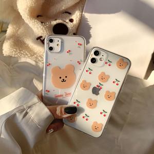 Retro Cyry Bear Letters Couples Cute Phone Custodia per iPhone 12 11 Pro Max X XS XR Custodia in silicone per iPhone 7 8 Plus Case