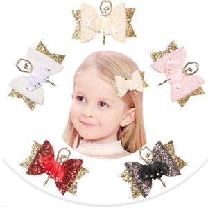 Glitter Hair Bows Ballet Girl Hairpin Princess Rhinestone Barrettes Party Birthday Kids Girls Hair Clips Hair Accessories 5 Colors BT5220