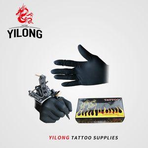 Yilong 100 Stks High Quality & Body Art Black Wegwerp Tattoo Latex Gloves Available Measures Accessories Free Shipment K44J