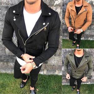 Thefound Fashion Stylish Mens Pea Coat Warm Leather Blend Biker Jacket Zipper Outwear Tops