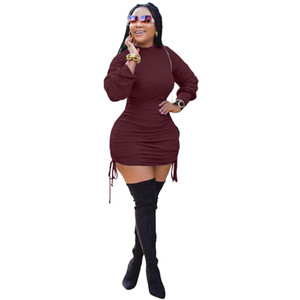 Four colors European and American women's new design solid color long-sleeved stitching bag hip dress 9278
