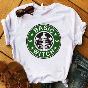 Fashion Women T Womens Basic Witch Coffee Halloween Graphic Printed Tee Shirt Femme Top Tshirt Female Ladies Clothes T shirt