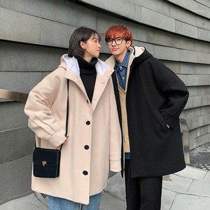 Estilo coreano con capucha con capucha Woolen Coat Men's cálido y de moda Casual Long Woolen Coat Abrigo Hombres sueltos sobresalientes para hombre sobrecoat1