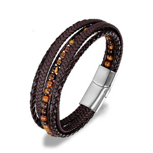 2020 New Men Leather Bracelet 6MM Natural Stone Wrap Woven Multilayer Boho Bracelet Men Handmade Magnetic Clasp Armband Jewelry