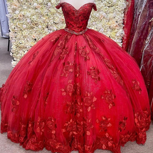 Gorgeous Red 3D floral Quinceanera Dresses Off the Shoulder lace-up corset Sweet 16 Ball Gown Prom Dress Vestidos De 15 Anos