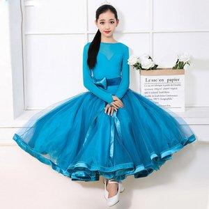 Girls Ballroom Dance Competition Dress Female Long Sleeve Mesh Tutu Standard Dance Wear Waltz Salsa Kids Dancing Clothes DWY2169