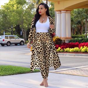 Spring and Autumn Fashion Lady Casual 2 Piece Set Ladies fashion print cape Ladies Solid Color Sexy Vest Slim Leggings