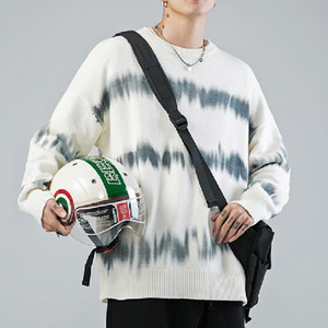 Nuovi maglioni uomo gradiente maniche lunghe a maglia o-collo morbido caldo pullover uomini inverno inverno stile coreano maglione bianco grigio