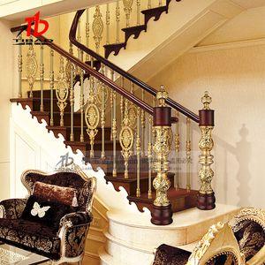 Villa copper art aluminum art guardrail rotating handrail household indoor European style railing solid wood