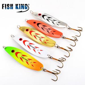 Pesce King 20-30G Cucchiaio in metallo Hard Pesca Lure Wobblers Artificiale per Trolling Trout Spoon Bait Bait Pike con Treble Gancio Q0104
