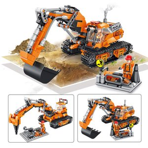 Engineering Bulldozer Crane Technic Truck Building Block City Construction car excavator education Toys For Children 4-6years