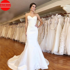 Simple White Ivory Satin Wedding Dresses Sweetheart Mermaid Vestido De Novia 2020 Cheap Custom Made Bridal Gowns Lace Up Back Q1110