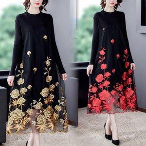 Mesh Embroidery Red Floral Elegant 3XL Plus Size Sweater 2020 Autumn Winter Women Vintage Bodycon Knitting Sweater Midi Dresses