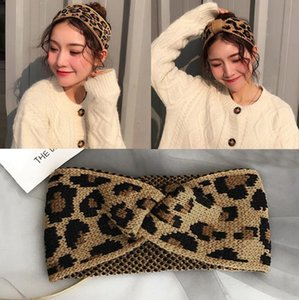 Leopard Knitted Headband Bowknot Hairband Turban Stretch Crochet Wide Bandanas Winter Twisted Headwrap Hair Accessories 3 Designs BT5729