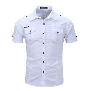Spring Summer Hombre Camisa fresca Color sólido Camisa de manga corta Camisa de trabajo Casual Tamaño S-3XL