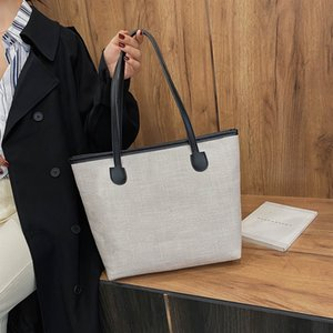 Casual Canvas Handbags Women Fashion Big Capacity Shoulder Bag Daily Travel Female Solid Color Shopping Totes Purse