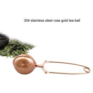 Rose Gold Acero inoxidable Inicio Té Infusor Filtro esfera esfera suelta hoja de té verde para taza Tetera Tetera Tea Lacros de té CCA12650