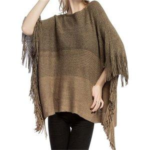 Neue Herbst Winter Frauen Pullover Europäische und amerikanische Damen Tücher Gestreifter Patchwork Farbe Gold Seidenschals Warme Quaste Cloak LY1223A