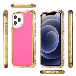 For iPhone 11 12 Pro X XR XS MAX 6 6s 7 8 plus three in one solid color plating TPU+transparent frame phone case For iPhone 12mini soft case