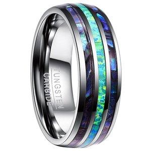 Nuncad Brand Tungsten Carbide кольцо 8 мм ширина полированный купол три паза Inlaid Abalone Shell Opal вольфрамовые кольца мужские ювелирные изделия США размером 5-15