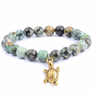 Classic Natural Stone Turquoises Beaded Bracelet Men Boho Wristband Animal Charm Bracelets & Bangles For Women Armband Jewelry