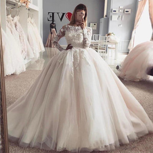 2021 Luxury Plus Size Ball Gown Wedding Dresses Lace Appliques Beaded Long Sleeves Hand Made Flowers Tulle Illusion Formal Bridal Gowns