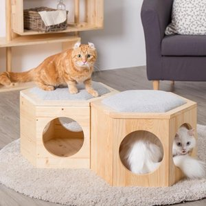 Cat Beds & Furniture Solid Wood Litter, House, Coffee Table, Stool, Shoe Changing Small Villa, Removable And Washable