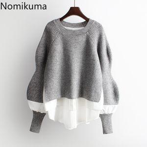 Nomikuma 2020 Autumn Winter Knitted Women Pullover Sweater Causal Patchwork Long Sleeve O-neck Pull Femme Korean Jumpers 6B728