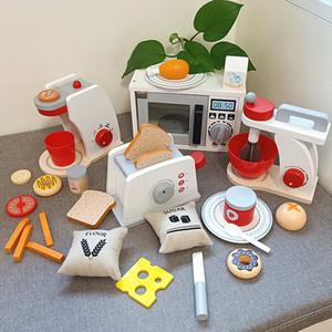 Miúdos Madeira Pretend Play Microondas Forno de Forno Cozimento Torradeira Máquina de Café Máquina de Café Brinquedo Simulação Cozinha Play House Toy F1216