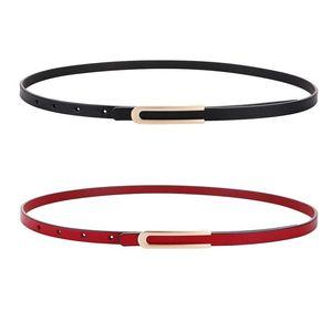 Genuine Leather Belts For Women Gold Buckle Thin Belt Black Second Layer Cowskin Jeans Dress Cowhide Leather Strap Belts Lady jllnDz