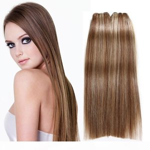 "P6 613 # Indian Brasilian Human Virgin Hair Extensions 3pcs lot 100g PCS Paquetes de pelo recto 8 ""-30"" Cabello indio rubio"