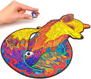 Wholesale Puzzle-Wooden Jigsaw Puzzles-Unique Shape Jigsaw Pieces Best Gift for Adults and Kids Alluring Fox Puzzle 196pcs