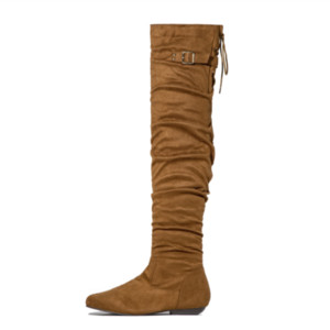 Winter Flock Women Boots Round Toe Low Heel Buckle Strap Decor Pleated Lady's Fashion Thigh High Boot Side Zip Big Size 43