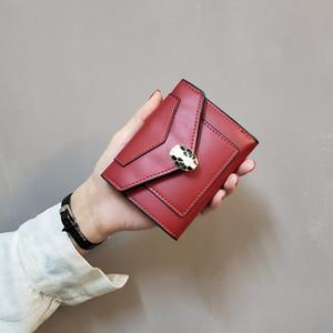 حار بيع 2020 مصمم جديد محفظة صغيرة المرأة قصيرة الأوروبية والأمريكية عادي الأفعى رئيس السيدات محفظة طالب الأزياء ثلاثة أضعاف